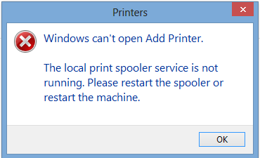 Windows can't open add printer